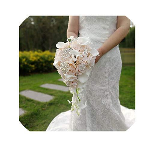 LiGHT-S Wasserfall Rosa Blumen-Brautsträuße Kunstperlen Kristall Hochzeit Bouquets Blumenstrauß Rose, Brautstrauß