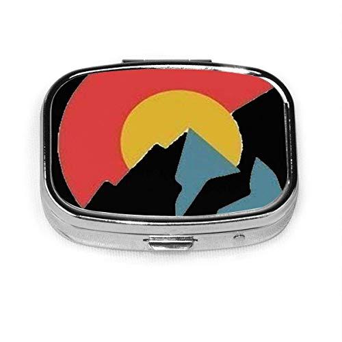 Pastillero – Pastillero personalizado de la bandera de Colorado, portátil rectangular de metal plateado, estuche compacto de 2 espacios, pastilleros para viaje/bolsillo/bolso