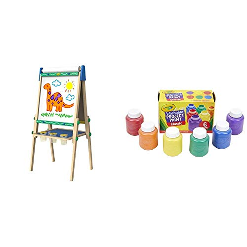 Crayola Kids Wooden Easel, Dry Erase Board & Chalkboard, Amazon Exclusive, Kids Toys, Gift, Age 4, 5, 6, 7 & Washable Kids Paint, Classic Colors, 6 Count, Painting Supplies, Gift