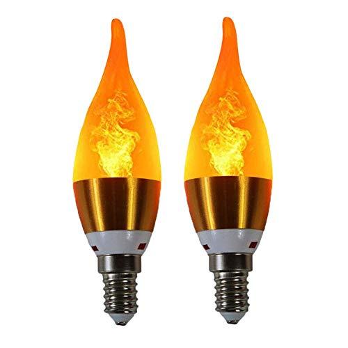 LCYZ LED Efecto de Llama Bombillas Candelabro lampara Base E14 Bombillas de Fuego para Casa de Navidad/Hotel/Bar Decoración Fiesta (2Pack)
