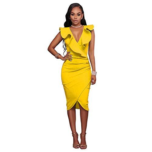 pridesong AliExpress wünschen Amazon Ebay europäischen und amerikanischen Standard-Code sexy V-Ausschnitt gekräuselte ärmellose Tasche Hüftkleid gelb L
