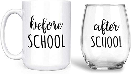Before School After School SET Funny Teacher Parent Gift Set Contains One 1 15 oz Deluxe Large product image
