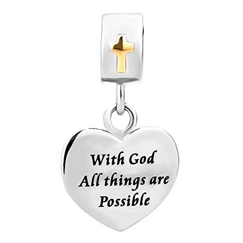 Third Time Charm With God All Things Are Possible Religious Corss Charm For Bracelets