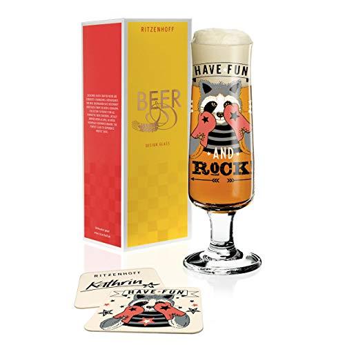 RITZENHOFF Beer Bierglas von Kathrin Stockebrand, aus Kristallglas, 300 ml, mit fünf Bierdeckeln