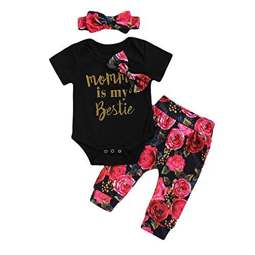 DaMohony 3-delige set voor baby's, meisjes, katoen, bowknot + bloemenbroek + haarband