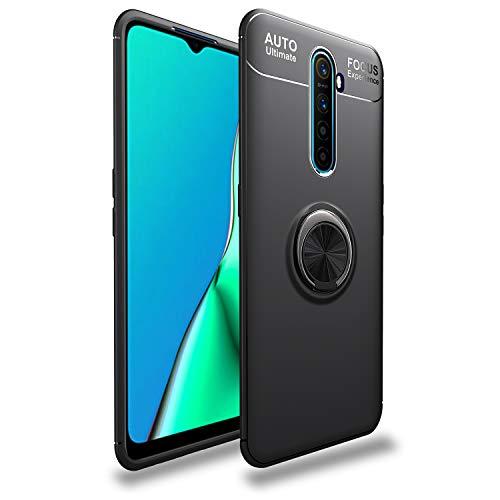 XunEda Funda para Realme X2 Pro 6.5', Kickstand del Anillo Caso Silicona Carcasa [Soporte magnético automóvil] + Protectora de Pantalla para Realme X2 Pro Smartphone (Negro)