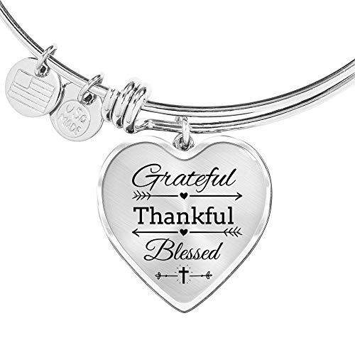 Express Your Love Gifts Grateful Thankful Blessed Heart Bangle Stainless Steel Oro 18k 18k Gold