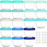 Baby Food Container - 18 sets baby food containers ( 4oz ) with assorted color lids. Lid labels for you to mark contents. 18 containers and 18 lids. SAFE & STURDY - Made of High-Quality material that is Microwave safe, Freezer safe, Dishwasher safe. ...