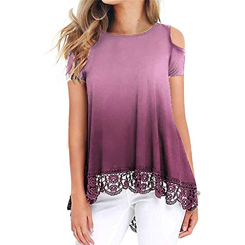Purchase Nihewoo Women Summer Tops Gradient Print Short Sleeve T-Shirt Top Blouse Lace Tee Shirts Pl...