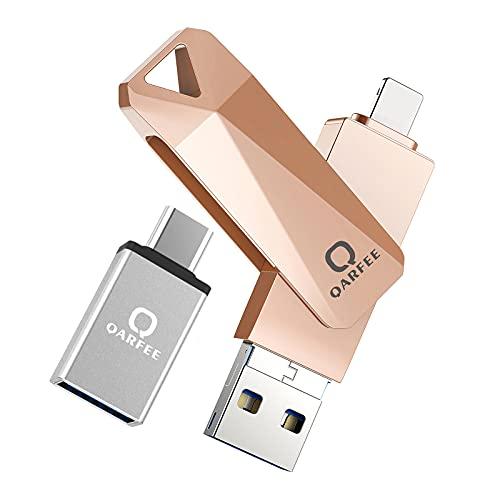 Clé USB pour iPhone 32 Go| Fortise Lecteur Flash Drive| avec Connecteur Extension de Stockage Mémoire Stick| sur iOS Andriod iPhone OTG Portable et Mac PC Ordinateur - Fortise 32Go Orange Rosé