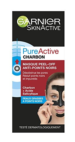 Garnier SkinActive Pure Active - Maschera Peel-Off anti-punti neri, per pelli grasse e imperfezioni, 50 ml