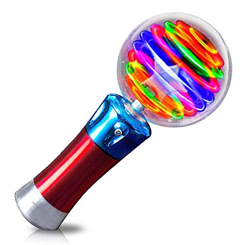 ArtCreativity 7.5 Inch Light Up Magic Ball Toy Wand for Kids - Flashing LED Wand for Boys and Girls - Thrilling Spinning Light Show - Batteries Included - Fun Gift or Birthday Party Favor