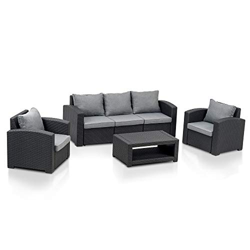 MCombo 6pcs Patio Furniture Set All-Weather Outdoor Sectional Sofa Rattan Pattern Patio Conversation Set w/Seat Cushions 6050-700 (Grey)