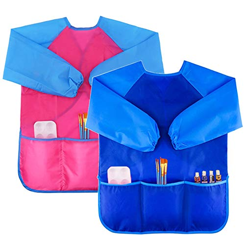 2 Pack Kids Art Smock Colorful Waterproof Children Art Aprons Artist Painting Aprons with Long Sleeve 3 Roomy Pockets for Age 3-8 Years,Blue and Pink
