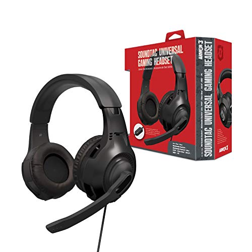 "Armor3 ""Soundtac"" Universal Gaming Headset (Black) for Xbox Series X/ Xbox Series S/ Nintendo Switch/ Lite/ PS4/ PS5/ Xbox One/ Wii U/ PC/ Mac - Nintendo Switch"
