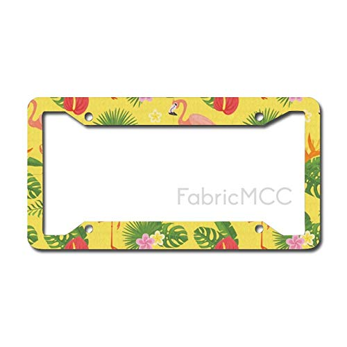 Dom576son License Plate Frame Tropical Hawaiian Beach Ocean with Flamingos Exotic Hibiscus Leaves Foliage, And Metal Tag Border US Size 12 x 6 Inches Auto License Plate Holder
