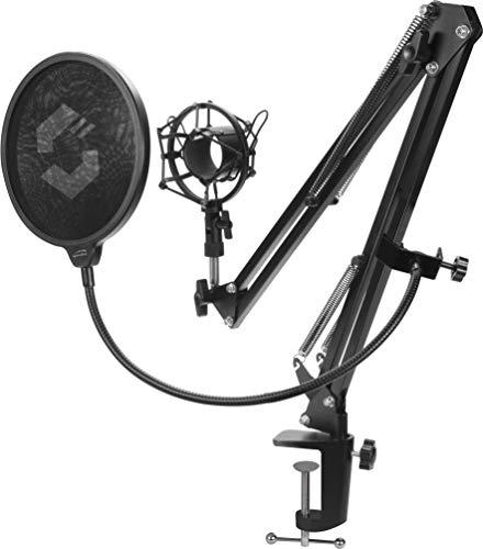 Speedlink Volity Streaming Accessory Set - Mikrofonhalterung für Streamer/Gaming/Computer/Notebook/Laptop, Shock-Mount, schwarz