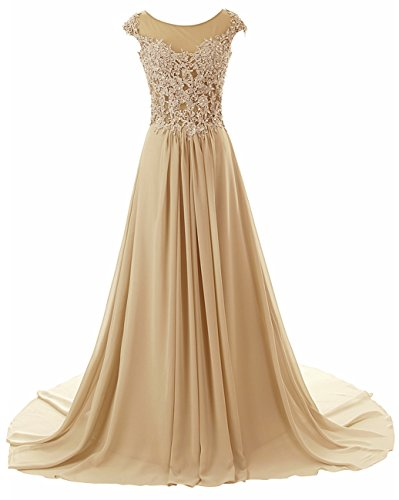 Prom Dress Long Formal Evening Gowns Lace Bridesmaid Dress Chiffon Prom Dresses Appliques Champagne US20W (Apparel)