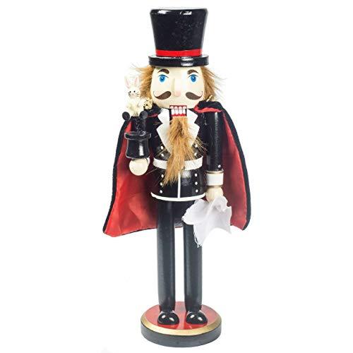 OBC-Kunsthandwerk Nussknacker Erzgebirge Stil Zauberer schwarz / 36 cm/Weihnachtlicher Nussknacker/handbemalte Deko Figur aus Holz/weihnachtlich dekorieren