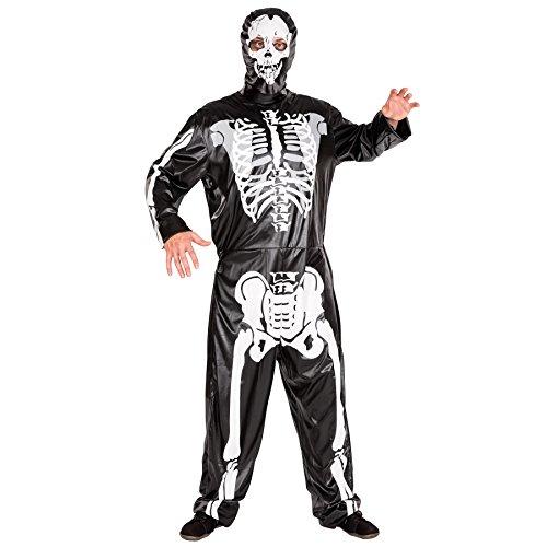 TecTake dressforfun Skelett Kostüm Jumpsuit mit All-Over-Druck inkl. Maske (L | Nr. 300095)