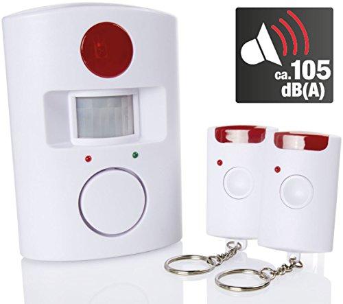 KOMPERNASS Bewegungsmelder mit Alarm 105dB(A), ca. 110° und 8 m Erfassungsbereich, inkl. 2 Fernbedienungen, Wandhalterung und Batterien