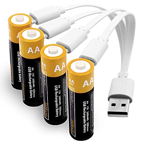 battery for usb charges Rechargeable Batteries AA Uzone 2600mWh AA Recharge Battery with USB Charger, 4-in-1 USB Type C Charging Cable, 1.5V Lithium Ion AA Battery Over 1200 Cycles, Storage Cases, Pack of 4