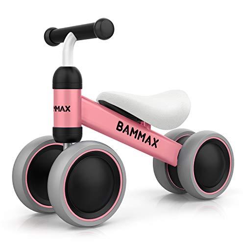 Bammax Bicicletta Senza Pedali, Bicicletta Equilibrio per Bambini 1-2 Anni Triciclo Baby Balance Bike Walker, Prima Bici Senza Pedali, 49*19*35cm, Ros