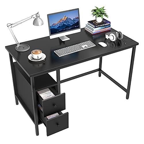 GIKPAL Escritorio de Computadora, Mesa de Ordenador Escritorio Estructura de Acero con Cajón, Mesa de Estudio Portátil Grande para Oficina en Casa (Negro)