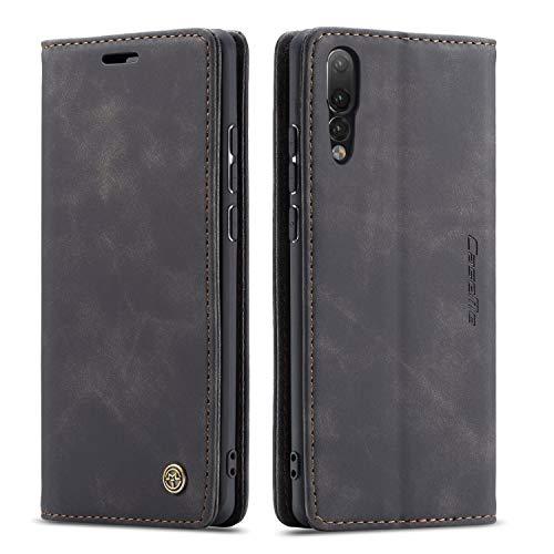 QLTYPRI Hülle für Huawei P20 Pro, Vintage Dünne Handyhülle mit Kartenfach Geldtasche Standfunktion PU Ledertasche TPU Bumper Flip Schutzhülle Kompatibel mit Huawei P20 Pro - Schwarz