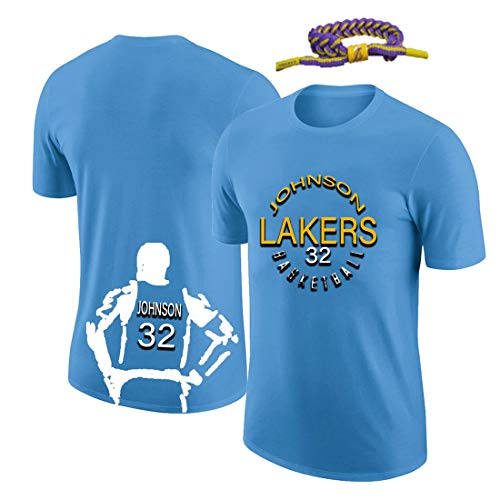 YUUY Camiseta de Baloncesto Earvin Johnson # 32 Ropa de Entrenamiento de Baloncesto, Camisetas Deportivas de Secado rápido, Regalos navideños para niños y Adultos (Color : Blue, Size : Medium)
