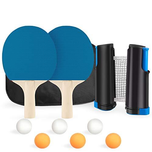 XDDIAS Tischtennis-Set, Unisex Adult Tischtennisschlaeger mit 2 Schlägern, 6 Tischtennisbällen und Verstellbarem Netz - Ideal für Freizeitspiele