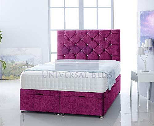 Universal Beds SOFT VELVET OTTOMAN SIDE LIFT STORAGE DIVAN BED BASE WITH 1000 POCKET MEMORY MATTRESS | FREE 26' HEADBOARD!!!! (6.0 FT - Super King, Soft Velvet Pink)