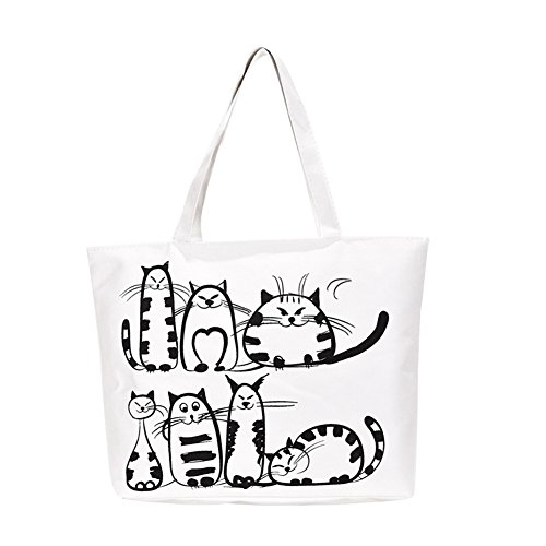Womens Fashion Cute Cat Animal Canvas Handbag Zipper Student Pouch Shoulder Bag