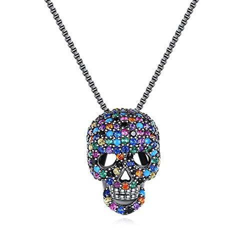 TTGE Hip Pop joyería de Moda Retro Calavera Colgante Collares para Mujeres Hombres Accesorios de Fiesta Punk Femme Collier