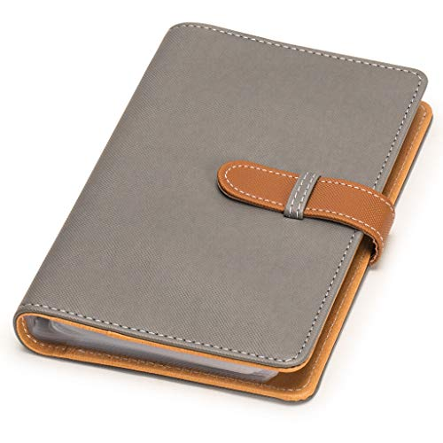 Nicely Neat Leatherette Business Card / Credit Card Organizer (Stone Grey) - Holds Up to 240 Cards - Top Grade Synthetic Leather