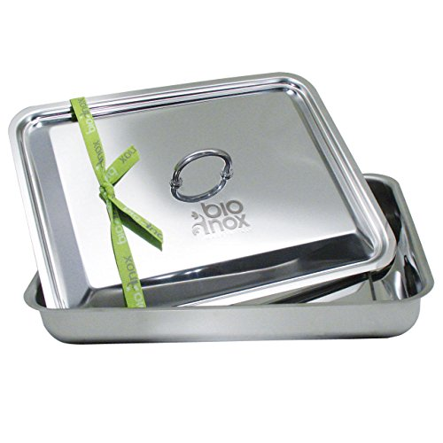 Inoxriv Bioinox Rectangular Baking Dish with Lid, Stainless Steel 35 x 27 cm