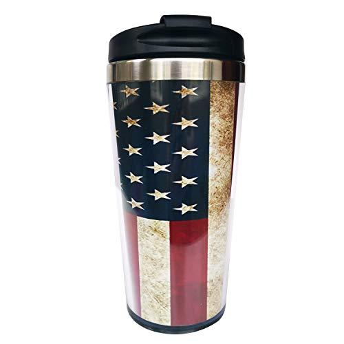 Hasdon-Hill Reisebecher mit amerikanischer Flagge, Vintage-Stil, mit Wickeltuch & schwarzem Deckel, Edelstahl-Kaffeetasse für Damen & Herren, Geburtstagsgeschenk, 340 ml
