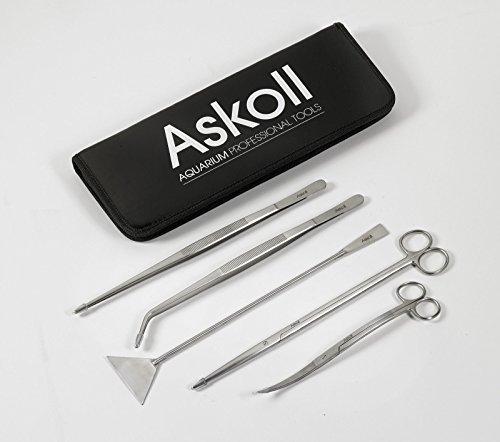 Askoll 005054 Kit di Accessori, Forbici + Pinze + Spatola per la Cura Dell'Acquario