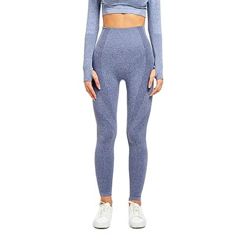 QTJY Leggings para Correr sin Costuras para Mujer, Pantalones de Yoga, Cintura Alta, Ejercicio Push-up, Estiramiento, Gimnasio, Celulitis, Leggings E L