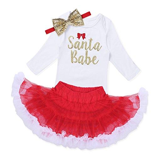 YiZYiF 2 pcs Bébé Fille Vêtement Noël Barboteuse Tutu Bandeaux Cheveux Déguisement Enfant 3-18 Mois (6 Mois, Rouge 1)