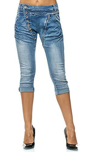 Elara Damen 3/4 Jeans Kurze Capri Slim Fit High Waist Hose Chunkyrayan C613M Blue, Gr.- 38/ Medium