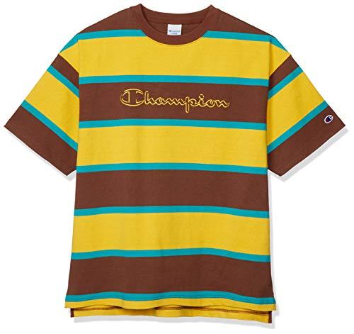 [チャンピオン] Tシャツ 半袖 綿100% 配色ボーダー スクリプトロゴ刺繍 ショートスリーブTシャツ C3-R303 メンズ ゴールド L