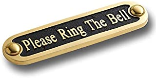Please Ring The Bell Brass Door Sign. Traditional Style Home Décor Wall Plaque Handmade by The Metal Foundry UK.