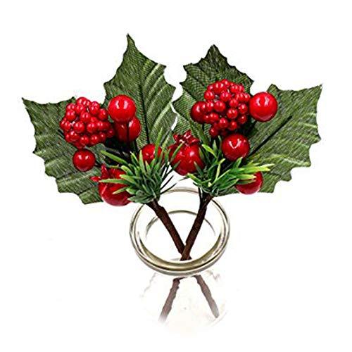 Ramas artificiales de bayas rojas de LouisaYork, tallos de acebo, 10 unidades de 17 cm con bayas para árbol de Navidad, San Valentín, bodas, vacaciones, decoración