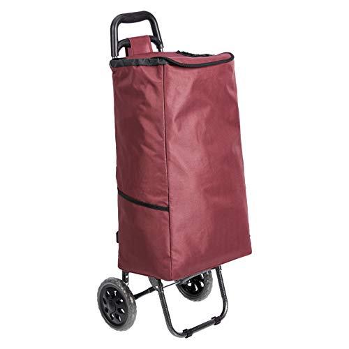 Amazon Basics - Carrito de la compra con 2 ruedas, 40 litros, color rojo