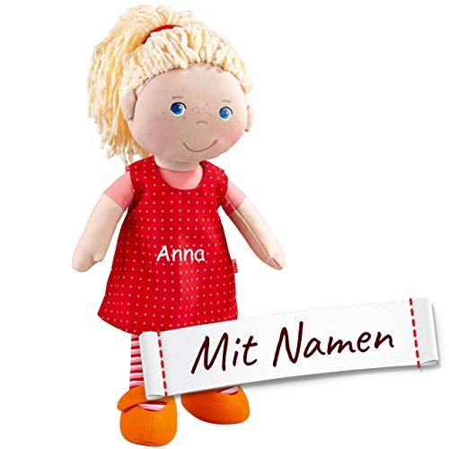 HABA Stoffpuppe Annelie mit Namen Bestickt, weiche Erste Baby Puppe mit Kleidung und Haaren, 0-5 Jahre Kuschelpuppe Taufgeschenk, Geschenk zur Geburt / Taufe 302108