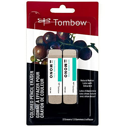 Tombow 67304 MONO Sand Eraser, 2-Pack. Silica Eraser Designed to Remove Colored Pencil and Ink Markings…