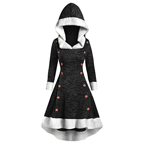 FKSESG Womens Vintage Dress Winter Christmas Long Sleeve Patchwork Hooded Party Dress