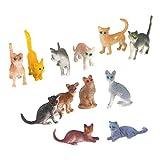Piccole Figure Gatto Stampi Bambini Giocattoli Di Plastica 12pcs Colorati