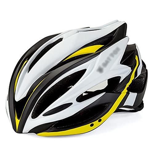 G&F Casco Bicicleta con Luz LED, Adulto Ligero Casco Bicicleta Montaña Ajustable 58-62cm Casco Ciclismo (Color : Yellow, Size : 58-62)